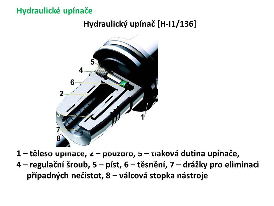 Hydraulické upínače Hydraulický upínač [H-I1/136] 1 – těleso upínače, 2 – pouzdro, 5 – tlaková dutina upínače, 4 – regulační šroub, 5 – píst, 6 – těsnění, 7 – drážky pro eliminaci případných nečistot, 8 – válcová stopka nástroje